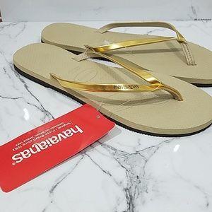 Havaianas - Gold Metallic Flip Flops